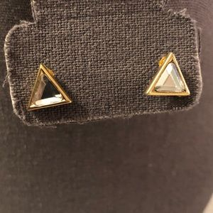 Gold Diamond Triangle Earrings